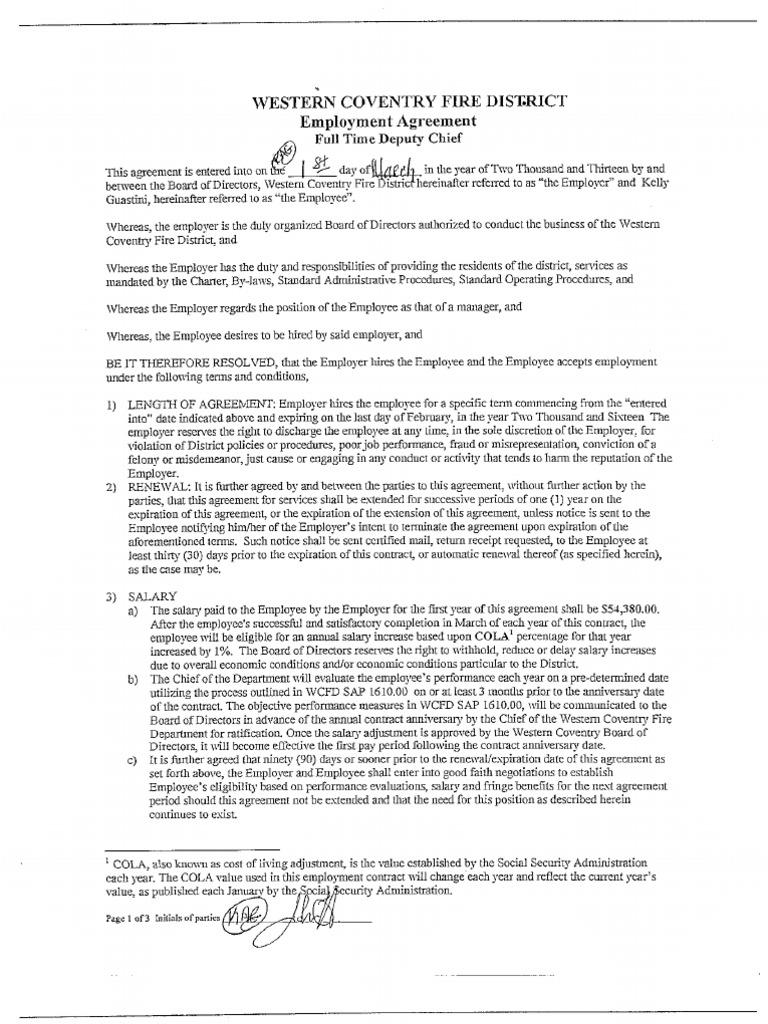 Wcfd Dpty Chief Employee Agreement | Employee Benefits | Employment