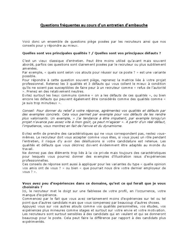 Question Reponse Entretien D Embauche Pdf