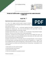 Subiecte Admitere Oral Engleza 2012