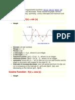 Properties of Six Trigonometric Functions