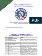 CLASSIFICAÇÃO BRASILEIRA DE PROCEDIMENTOS FONOAUDIOLÓGICOS