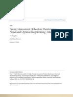 Evaluación de Prioridades de las necesidades de mantenimiento de rutina y programación óptima Informe provisional