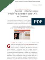 Thierry Meyssan _ « Des terroristes syriens ont été formés par l'UCK au Kosovo » _ Entretien avec le magazine serbe Geopolitika