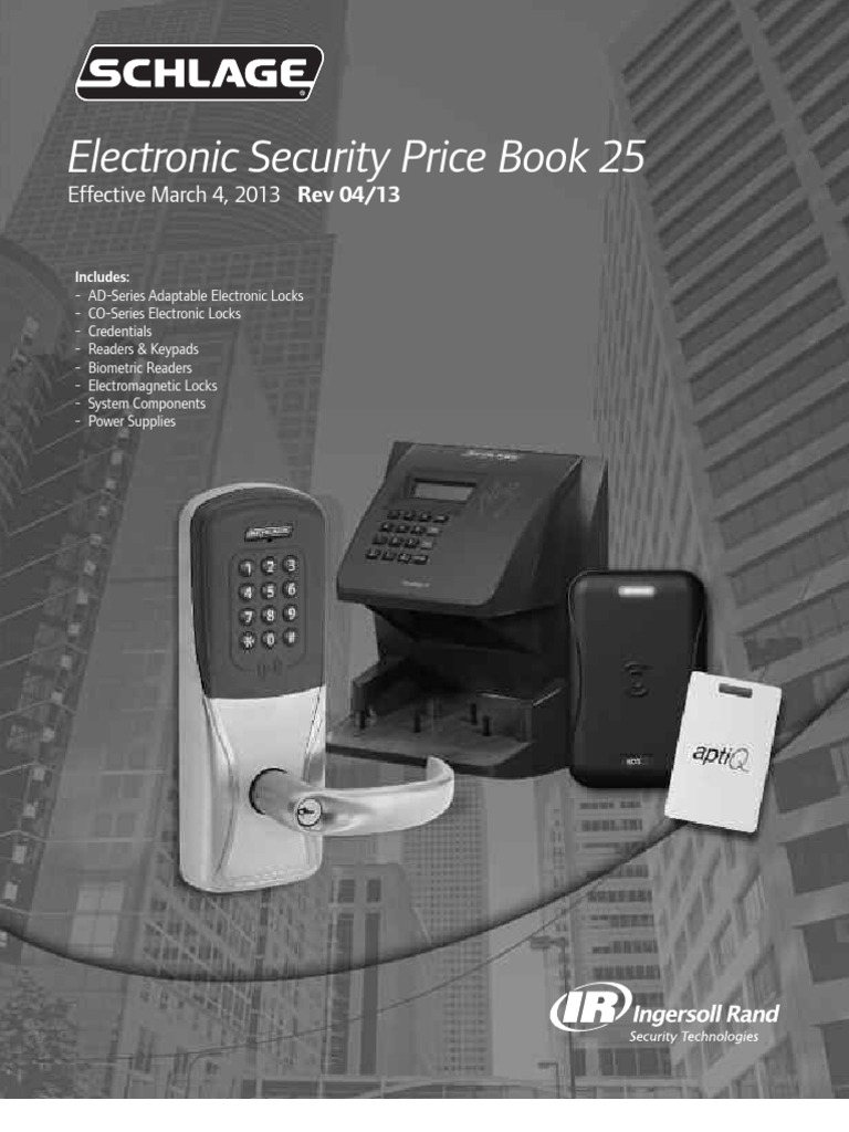 Schlage Electronic Security Price Book 2013 | Indemnity