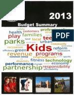 2013 CPD Budget Summary