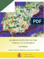España. REORDENACIÓN DEL SECTOR  PÚBLICO AUTONÓMICO a 1 de enero de 2013
