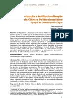 Fernando Leite, Adriano Codato (2013) Autonomização e institucionalização da Ciência Política brasileira