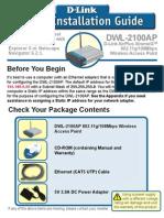 WAP D-Link DWL-2100AP Installation Guide