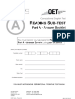 reading Part A – answer booklet