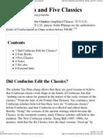 Four Books and Five Classics - Wikipedia, The Free Encyclopedia