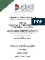 KPF 4013 - KPF4013 FALSAFAH & PERKEMBANGAN PENDIDIKAN MALAYSIA (TUGASAN INDIVIDU)
