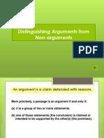 Arguments vs Non Arguments