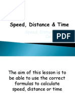 Speed Distance Time Calculations