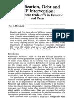 Stabilization, Debt and IMF Intervention - Development Trade-Offs in Ecuador and Peru