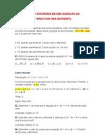 ESTUDO DAS RAÍZES DE UMA EQUAÇÃO DO 2º GRAU COM UMA INCÓGNITA