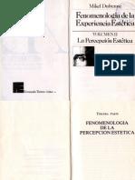 Fenomenología de la experiencia estética - Volumen II. La Percepción Estética - Mikel Dufrenne