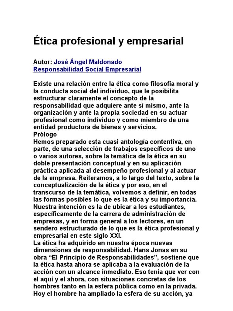 Ética profesional y empresarial