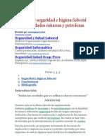 Normas de Seguridad e Higiene Laboral en Actividades Mineras y Petroleras