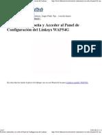 Resetear contraseña y Acceder al Panel de Configuración del Linksys WAP54G