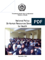 Afghanistan Public Health Policy on Human Resources