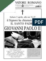 Articolo Morte Giovanni Paolo II