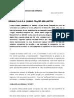 COMUNICADO DE IMPRENSA | NOVO RENAULT CLIO R.S. 200 EDC