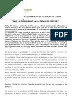PS Paredes votou contra Documentos de Prestação de Contas