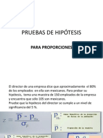 PRUEBAS DE HIPÓTESIS PARA PROPORCIONES