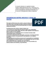 Dif. Entre Base de Datos y Archivos