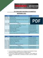 CRONOGRAMA CONCURSO NACIONAL DE ROBÓTICA RIOTRONIC 2013_RIO