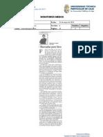 Informe de prensa semana del 23 al 31 de mayo de 2013