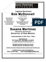 Invitation to Sept 14, 2010 Fundraiser for  Susana Martinez.