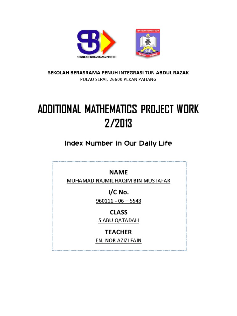 add math project Csec additional mathematics sba guidelines pupils should complete one project, either project a or project b project a: each student should complete a project based on applying the mathematical concepts, skills and procedures from any topic (s) in the syllabus, in order to understand, describe or explain a real world phenomenon.