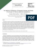 An Algebraic Formulation of Kinematic Isotropy and Design of Isotropic 6-6 Stewart Platform Manipulators