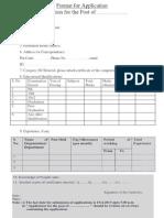 Format for Application Punjab Govt
