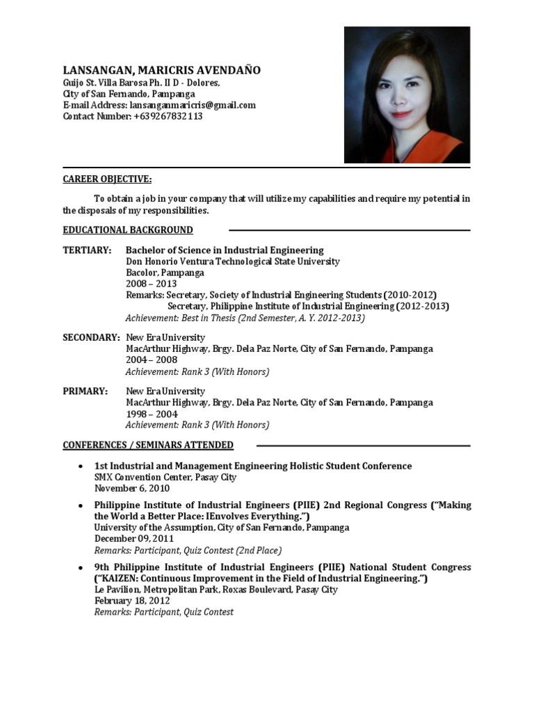 fresh graduate resume  science and technology  science