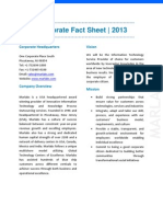 Marlabs Corporate Fact Sheet 2013– An Award Winning Provider of IT Services