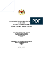 Guidelines by DOSh for CHRA ,Hygience, Assessor