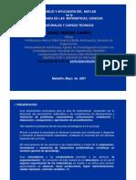 Manejo y Aplicacion Del MATLAB en La Ensenanza de Las Matematicas, Ciencias Naturales y de Los Recusos Tecnicos