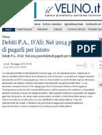 Senatore Antonio d'Alì firma emendamento per debiti PA