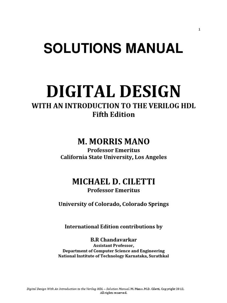 Mnl 6981 Digital Design 4th Edition M Morris Mano Solution Manual