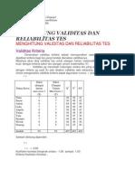 Menghitung Validitas Dan Reliabilitas Tes