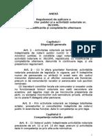 Regulament de aplicare a Legii notarilor publici și a activității notariale nr. 36/1995