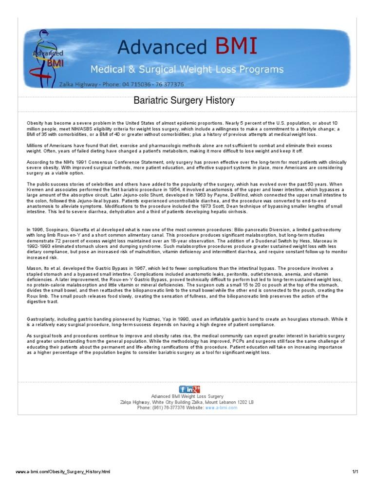 Weight Loss Surgery History Dr Nagi Safa Bariatric Surgery