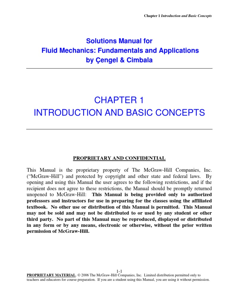 fundamentals of fluid mechanics cengel cimbala solutions chap01 pdf rh es scribd com fluid mechanics solution manual 5th edition fluid mechanics solution manual pdf