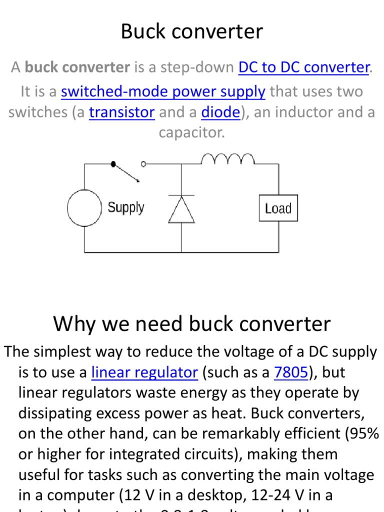 Buck Converter Manufactured Goods Electrical Components 12 Volts Switching Power Supply Using Transistor