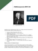 J S Bach Passion of St MatthePaw
