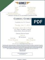 Gabriel Gomez Springfield Debate Party Invitation