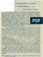 Quecedo. Pbro. Dr. Julio F - Introducción al manuscrito De Gratia escrito por el P. Jerónimo Escobar