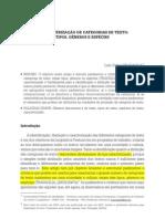 A CARACTERIZAÇÃO DE CATEGORIAS DE TEXTO TIPOS, GÊNEROS E ESPÉCIES